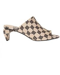 MISBHV Heeled Mules With Monogram - Natural