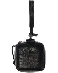 Balenciaga Leather Pouch With Logo - Black