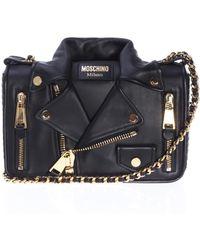 Moschino Leather Shoulder Bag With Biker Jacket Motif - Black