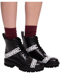 DSquared² Leather Ankle Boots With Logo Black