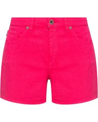 Love Moschino Denim Shorts With Logo Pink