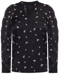 AllSaints 'rosi' Embroidered Top Black