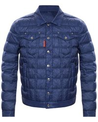 DSquared² Quilted Jacket Navy Blue