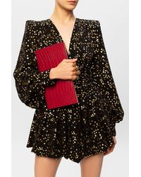 Alexander McQueen Clutch With Ring Handle Red