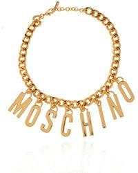 Moschino Logo Necklace - Metallic