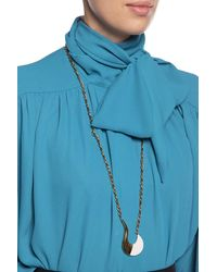 Marni Blow Up Hook-shaped Long Pendant Necklace - Metallic