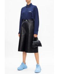 Balenciaga Silk Shirt With Logo Navy Blue