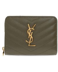 Saint Laurent Quilted Wallet With Logo - Green
