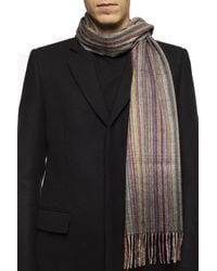 Paul Smith Patterned Scarf With Fringes Multicolour