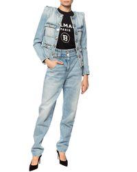 Balmain Tapered Leg Jeans Light Blue