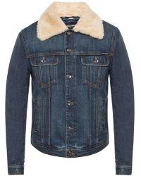 Dolce & Gabbana Denim Jacket With A Fur Collar - Blue