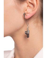 Ambush Earrings With Logo Pendant Silver - Metallic