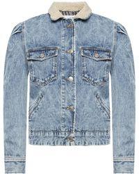 Étoile Isabel Marant Denim Jacket With Fur Collar - Blue
