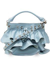 RED Valentino 'rock Ruffles' Bucket Bag Light Blue