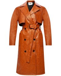 MSGM Double-breasted Coat Brown