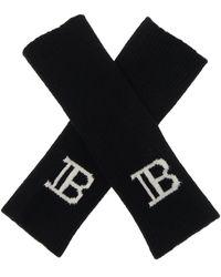 Balmain Fingerless Gloves With Logo - Black