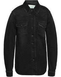 Off-White c/o Virgil Abloh - Embroidered Denim Shirt - Lyst