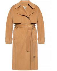 Diane von Furstenberg Striped Wool Coat - Natural