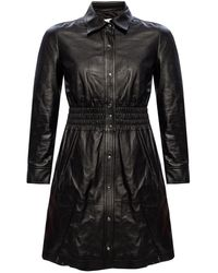 COACH Smocked Leather Dress Black