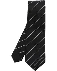 Alexander McQueen Silk Tie With Logo - Black