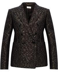 Saint Laurent Blazer With Sequins Black