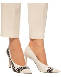 DSquared² Branded Leather Stiletto Pumps Beige - Natural