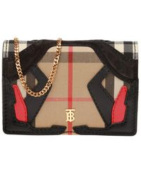Burberry Card Case On Chain - Brown