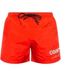 Marcelo Burlon Printed Swim Shorts - Red