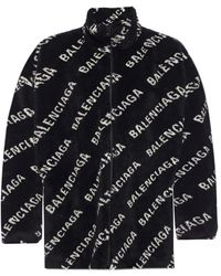 Balenciaga Faux Fur Logo Coat - Black