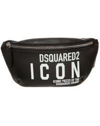 DSquared² Icon Print Belt Bag - Black