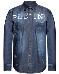 Philipp Plein Denim Shirt With Logo - Blue