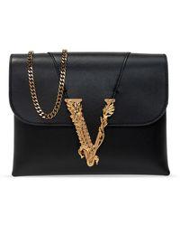 Versace Shoulder Bag With Logo - Black