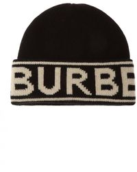 Burberry Intarsia Cashmere Beanie - Black
