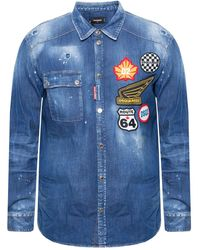 DSquared² Patched Denim Shirt - Blue