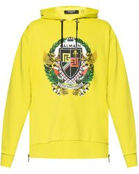 Balmain - Logo-printed Hoodie Yellow - Lyst
