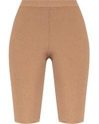 Saint Laurent Short Leggings With Logo - Natural