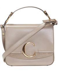 Chloé ' C' Shoulder Bag Beige - Natural