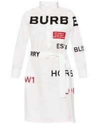 Burberry Horseferry Print Cotton Tie-waist Shirt Dress - White