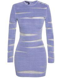 Balmain Dress With Sheer Inserts - Purple