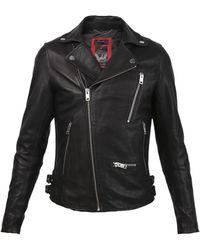 DIESEL Leather Biker Jacket Black