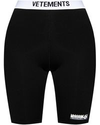 Vetements Cropped Leggings With Logo - Black