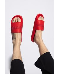 Burberry Slides With Logo - Red