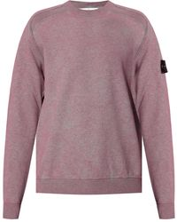 Stone Island Sweatshirt With Logo Pink