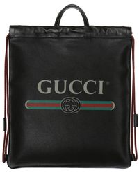 Gucci Printed Leather Backpack - Black