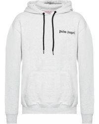 Palm Angels Logo-printed Hoodie - Gray
