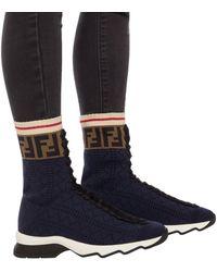 Fendi Ff Motif Sneaker Boots - Blue