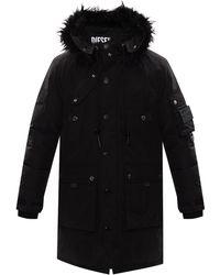 DIESEL 'w-colby' Down Coat Black