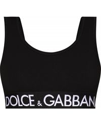 Dolce & Gabbana Cropped Top With Logo - Black