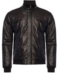Emporio Armani Logo-embroidered Leather Jacket - Black