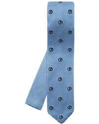 Giorgio Armani Silk Tie With Logo - Blue